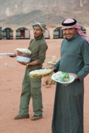 Atallah and some help, brining dinner from the kitchen to the buffet.